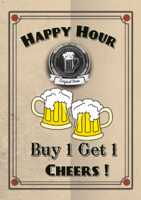 Happy Hour restaurant bar flyer