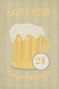 Happy hour retro vintage style beer bar sale poster template