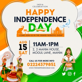 Happy Independence Day of India Social Media Publicação no Instagram template