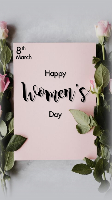 Happy International Women's Day Digitalt display (9:16) template