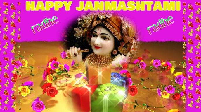 happy janmashtami Tampilan Digital (16:9) template