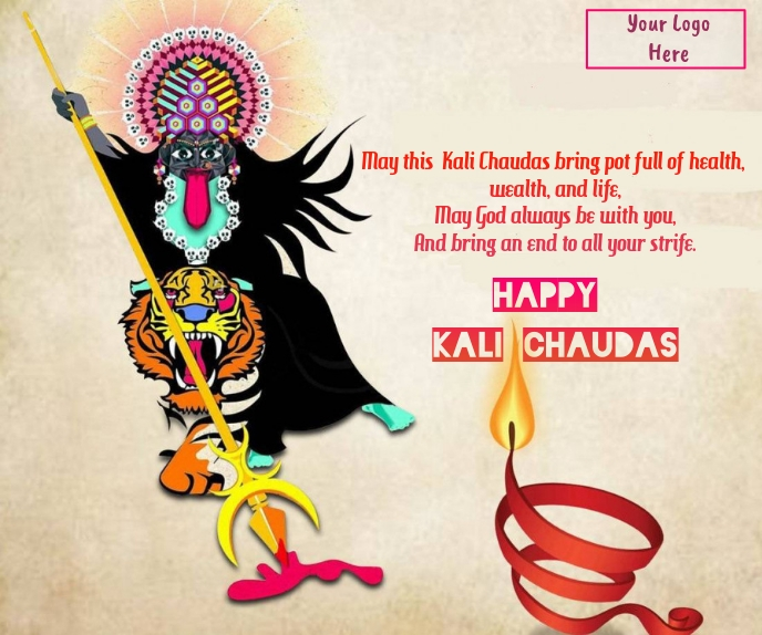 Happy kali chaudas wishes wallpaer Grote rechthoek template