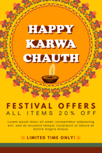 Happy Karwa Chauth Traditional Style Poster