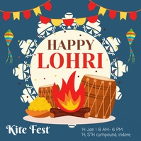 Happy Lohri festival Instagram Plasing template