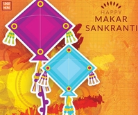 Happy Makar Sankranti wallpaper Rectángulo Grande template