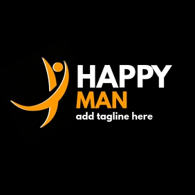 happy man orange and white icon design logo
