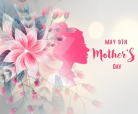 Happy Mother's day flower decorative card Middelgrote rechthoek template