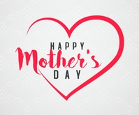 Happy Mother's day hearts greeting Middelgrote rechthoek template