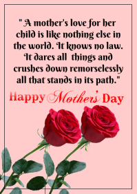 Happy Mother's day quote A5 template