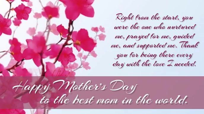 Happy Mother's Day to the best mom in the wor Цифровой дисплей (16 : 9) template
