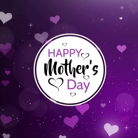 Happy Mother's Day Hearts Greeting Card Advert Glitter Shine
