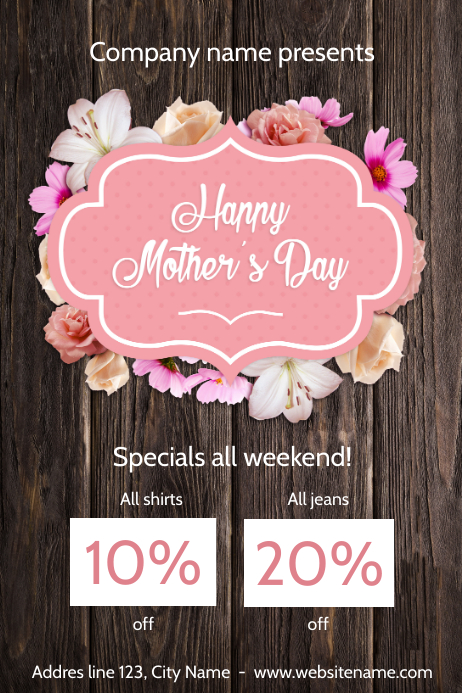 Happy Mother's day Savings Poster template