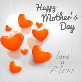 Happy Mothers Day Greeting Card hearts love u mom