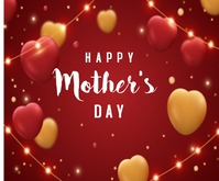Happy Mothers day with heart Middelgrote rechthoek template