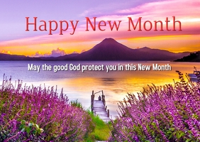 Happy New Month Postcard template