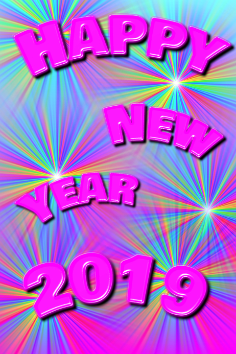 HAPPY NEW YEAR 2019 cute pink and colorful