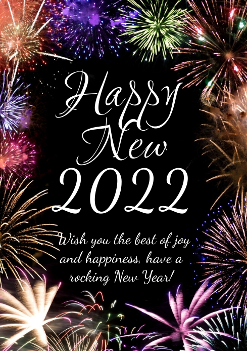 Happy New Year 2021 Firework Greeting Card Ad Template | PosterMyWall