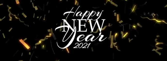 Happy New Year 2021 Golden Confetti Facebook-coverfoto template