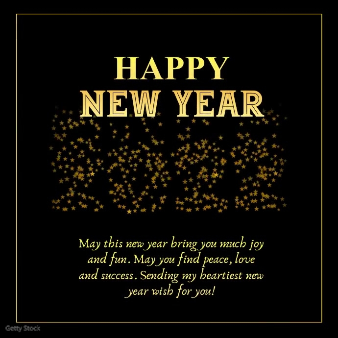 Copy of Happy New Year 2021 Wishes Greeting Card Gold ...