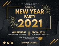 Happy New Year 2021 Celebration Banner Flyer (Letter pang-US) template