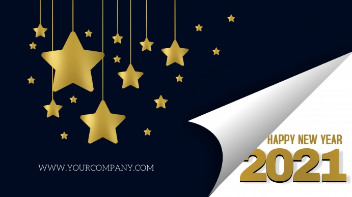 HAPPY NEW YEAR 2021 Digital na Display (16:9) template