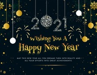 Happy New Year 2021 Greeting Card Animated Løbeseddel (US Letter) template
