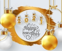 Happy New Year 2021 wishes wallpaper Duży prostokąt template