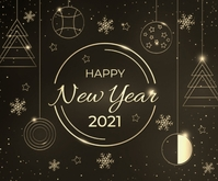 Happy New Year 2021 wishes wallpaper Persegi Panjang Sedang template