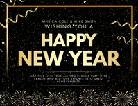 Happy New Year Advertisement Banner Flyer (Letter pang-US) template
