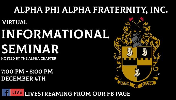 Alpha Phi Alpha Fraternity Informational seminar Wizytówka template