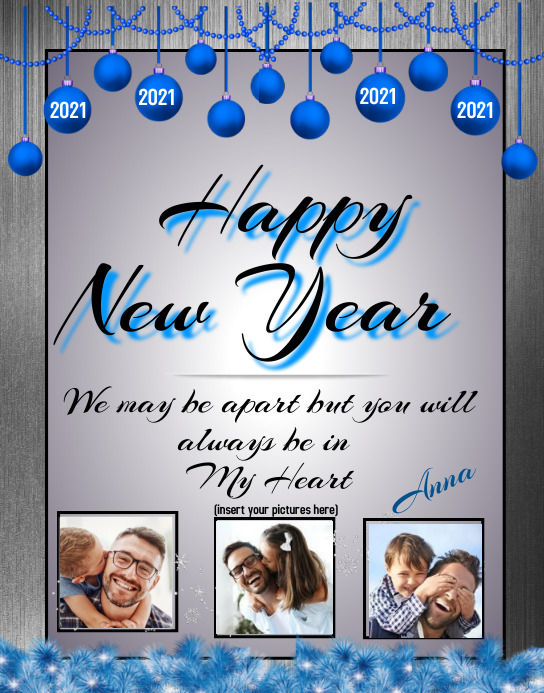 Happy New Year Card Poster/Wallboard template