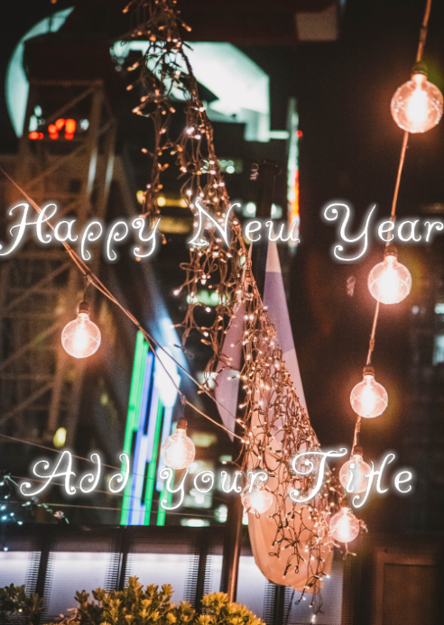 Happy New Year Card A6 template