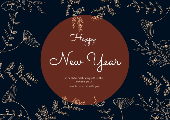 Happy New year card floral A6 template