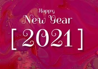 Happy New year card video A6 template