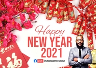 Happy new year Chinese Carte postale template