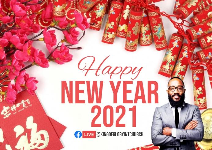 Happy new year Chinese Kartu Pos template