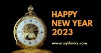 Happy New Year Clock Header Banner Gold Shop