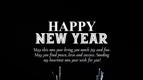 Happy New Year Cover header Firework Message