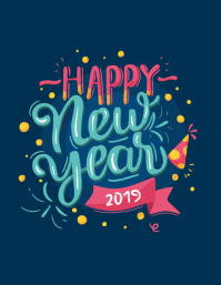 happy new year happy 2018 poster template