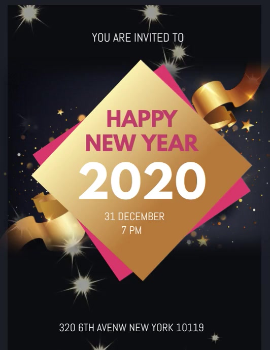 Happy New Year Løbeseddel (US Letter) template