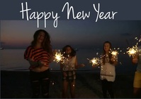 Happy New Year Postcard template