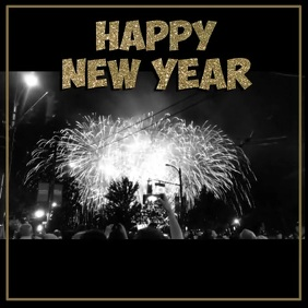 Happy New Year Firework Black White 2020