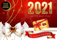 Happy New Year Gift Card Postcard template