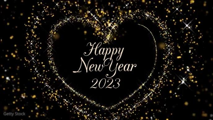 Happy New Year Glitter Video Golden Heart