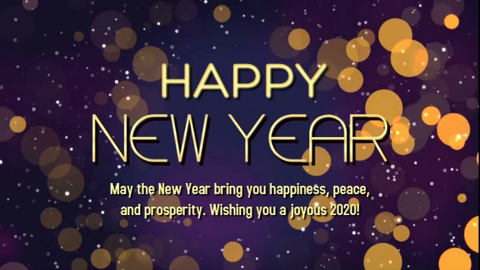Happy New year golden shine lights cover ad template