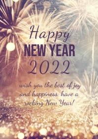 Happy New Year greeting Card Din Firework ad
