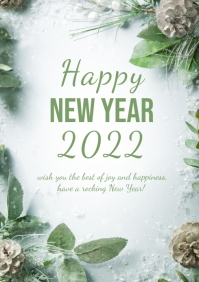 Happy New Year greeting Card Din Firework ad A4 template