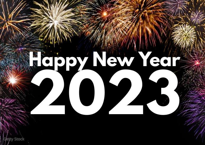 Happy New Year Greeting Card Fire Work Sea