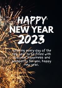 Happy New Year Greeting Card firework Wish ad