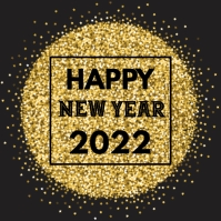 Happy New Year Greeting Card Glitter Golden